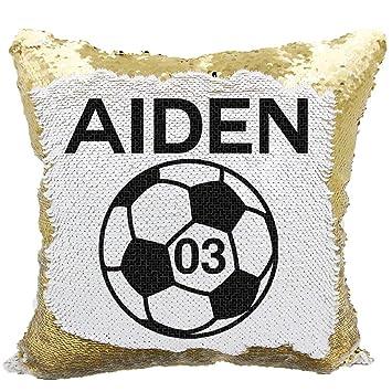 Amazon.com: Almohada de lentejuelas de fútbol, personalizada ...