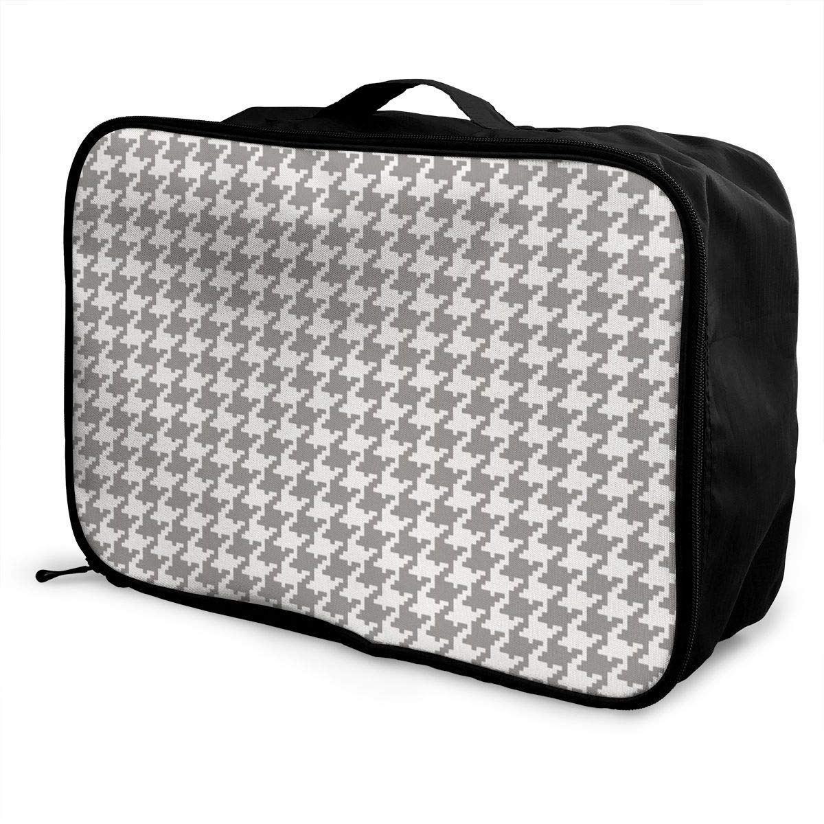 JTRVW Luggage Bags for Travel Travel Duffel Bag Waterproof Fashion Lightweight Large Capacity Portable Duffel Bag for Men /& Women Classic Houndstooth Classic Houndstooth Long Tropical Print