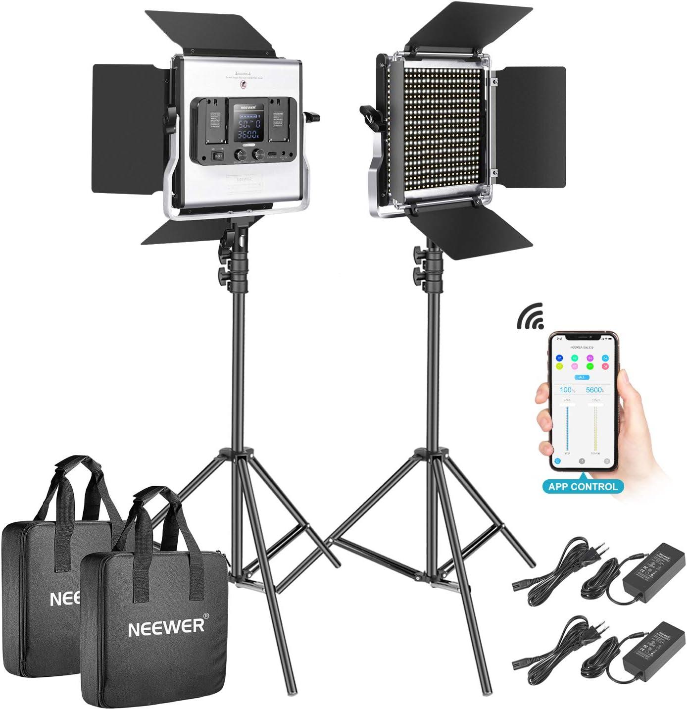 Neewer 2-Pack 528 LED Video Luz Metal Regulable Bi-Color 3200K-5600K Kit de Iluminación Fotografía con App Sistema Control Inteligente Pantalla LCD y Soporte Luz para Video Estudio