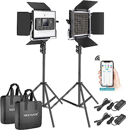 Todo para el streamer: Neewer 2-Pack 528 LED Video Luz Metal Regulable Bi-Color 3200K-5600K Kit de Iluminación Fotografía con App Sistema Control Inteligente Pantalla LCD y Soporte Luz para Video Estudio