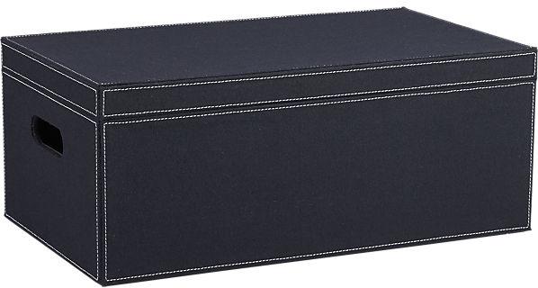 navy felt lidded box | CB2