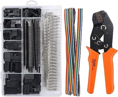 JZK Dupont Pince /à Sertir /à Cliquet SN-28B Pinces avec Dupont Homme Femme /épingle Kit de Connecteurs Broche 2.54mm Embouts Assortis C/âble Plat /à Douille Outil de Sertissage