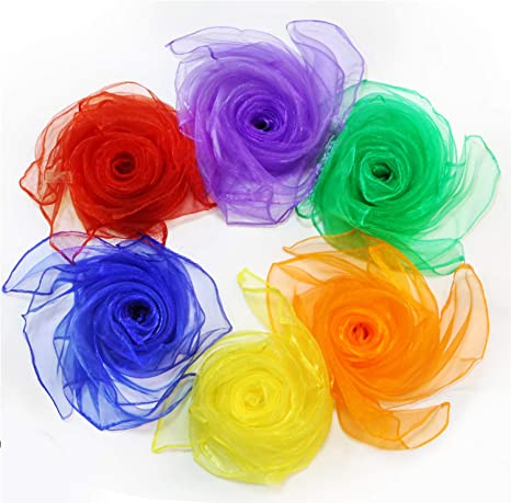 HONBAY 12PCS Gradient Color Square Scarves Juggling Scarves Silk Dance Scarves x