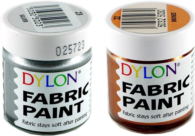 Dylon Juego de pintura de tela, metálico, 3 macetas de 25 ml ...