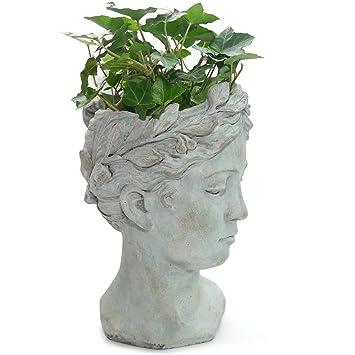 Exner Büste Valo Frauenkopf Als Pflanzgefäß Keramik Grau