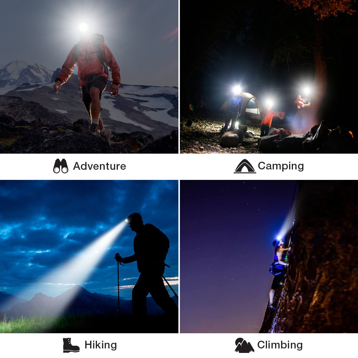 Solar Rechargeable LED Headlamp with Power Bank,SGODDE Super Bright 3 Modes Waterproof Head torch Headlight,Adjustable Elastic Headband for Outdoor Hiking Camping Fishing Cycling Running Walking by SGODDE (Image #8)