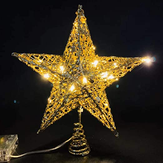 Christmas Traditions 27,9/cm Glittered Star Tree Topper//Home Decor Gold
