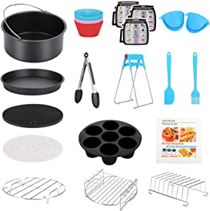 8 Inch XL Air Fryer Accessories, 17 Pcs Deep Fryer Accessories with Recipe Cookbook for Growise Phillips Cozyna Fits All 4.2QT - 5.8QT Air Fryer