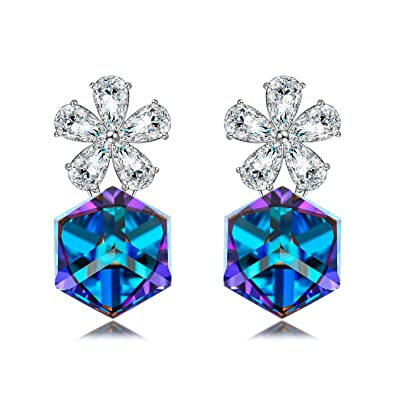 35dcb9862 LADY COLOUR The Magic Garden Flower Swarovski Crystals Earrings Jewelry for  Women Anniversary Gifts Birthday Gifts
