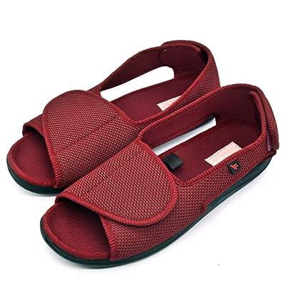 Women's Open Toe Edema Slippers Extra Wide Width Adjustable Sandals Diabetic Shoes for Swollen Feet Elderly Mother Woman.   Slippers