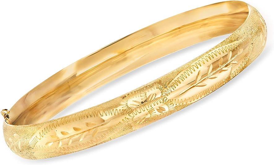 Ross-Simons 14kt Gold  Engraved Bangle