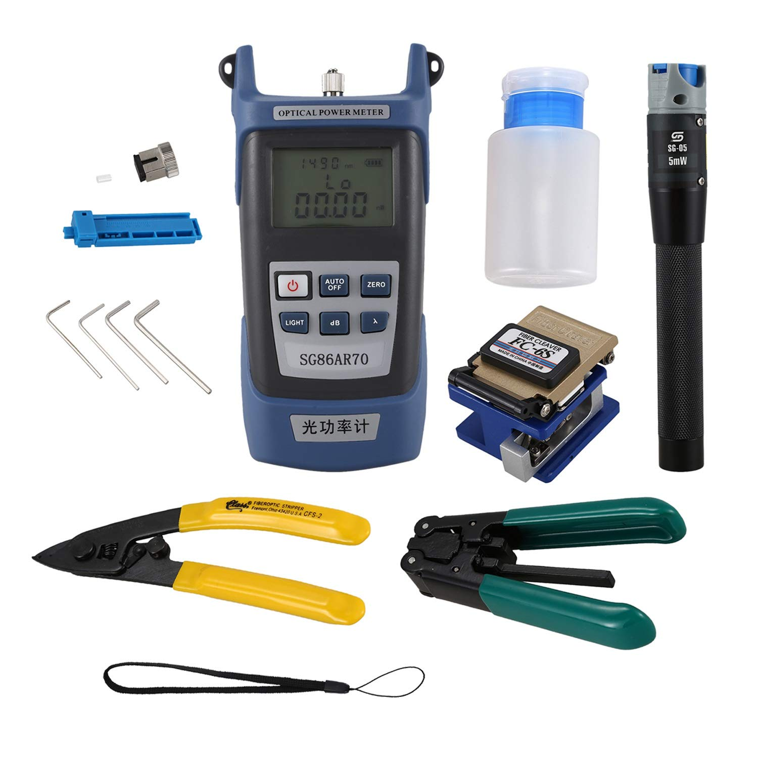 Semoic for Fc-6S Fiber Optic Ftth Tool Kit Fiber and Aua-60S Fiber Cleaver Optical Power Meter3-5Km Visual Finder Locator Wire Stripper by Semoic
