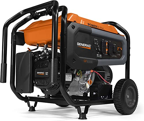 Generac 7676 GP8000E Portable Generator, Orange, Black