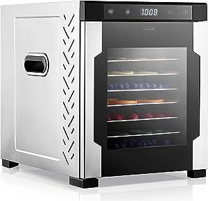 Electric Countertop Food Dehydrator Machine - 900-Watt Premium Multi-Tier Meat Beef Jerky Maker Fruit/Veggie Dryer w/ 10 Stainless Steel Trays, Digital Timer, Temperature Control - NutriChef NCFD10S