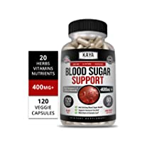 Kaya Naturals Blood Sugar Support Supplement, 120 Count Capsules, 20 Herbs, Alpha...
