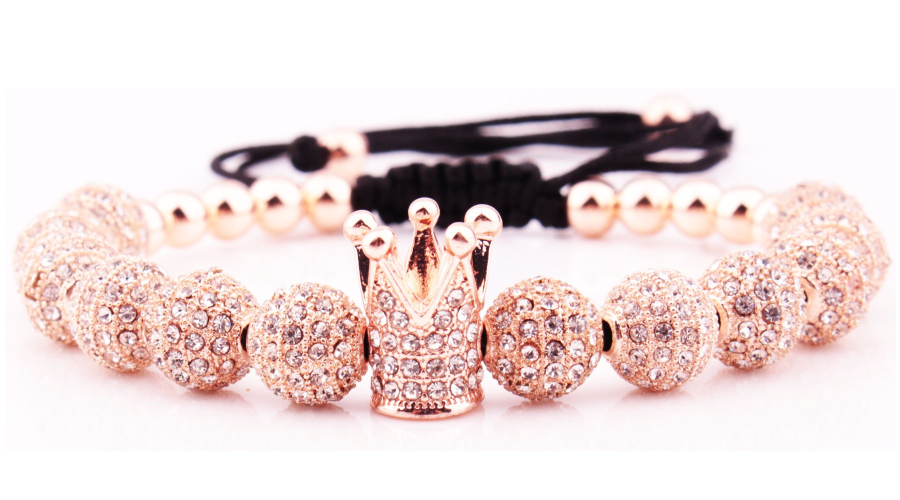 GVUSMIL Rose Gold Luxury CZ Imperial Crown Braided Copper Bracelets with 8mm Micro Pave Cubic Zirconia Beads Pulseira Bangle for Women Men