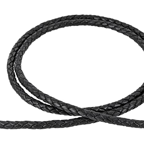 schwarz 1m Lederband geflochten /Ø 2,5mm Farbe AURORIS