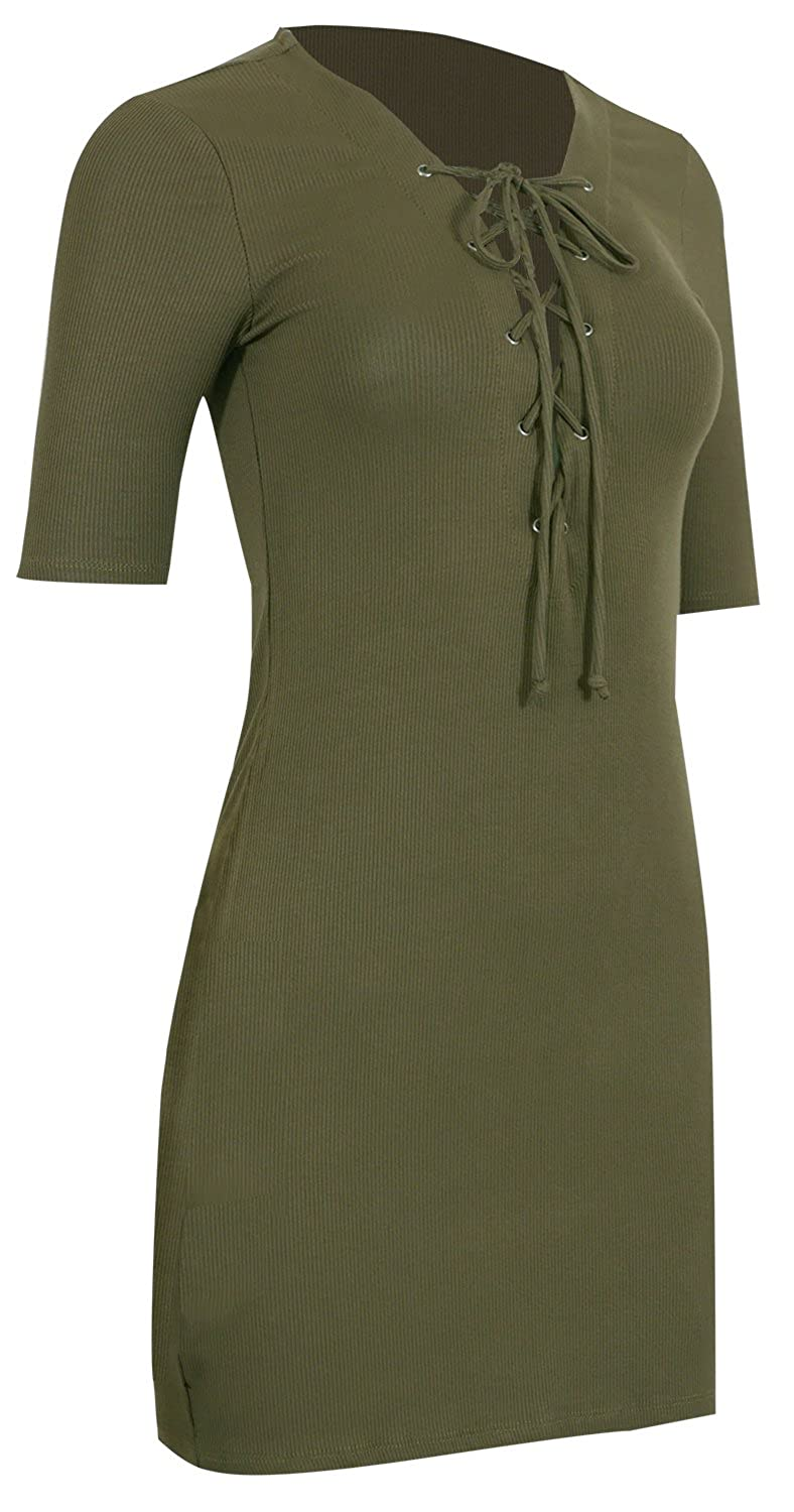 Pinmuse Women's Hot Trend Rib Lace Up Sexy Bodycon Dress