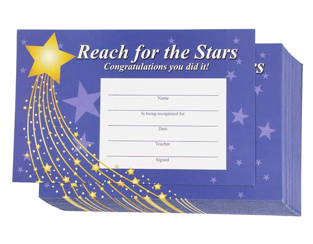 Award Certificate - 60-Pack Recognition Cards, Reach For The Stars Incentive Awards Ideal for Teachers, Children, Schools, Purple, 8.5 x 5.5 Inches