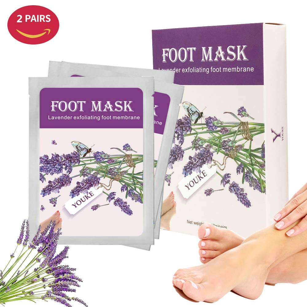 Exfoliating Foot Peeling Mask 2 Pairs Lavender Scented Peel Booties for Callus Dead Skin, Get Soft Touch Smooth Feet in 1 Week YOUKE