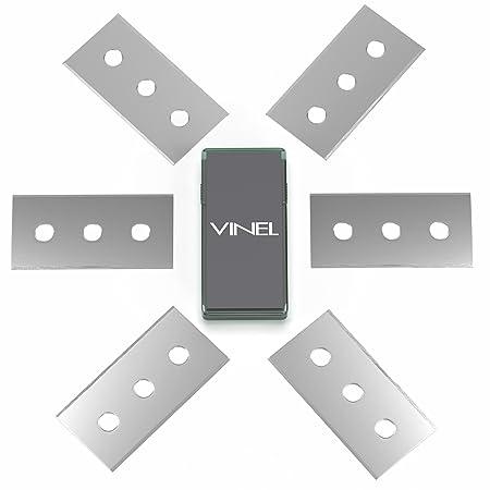 VINEL Cuchillas de Repuesto Inoxidable para vitrocerámica de rasqueta – Cristal – Rasqueta | 6 Cuchillas Incluye Práctico Almacenamiento