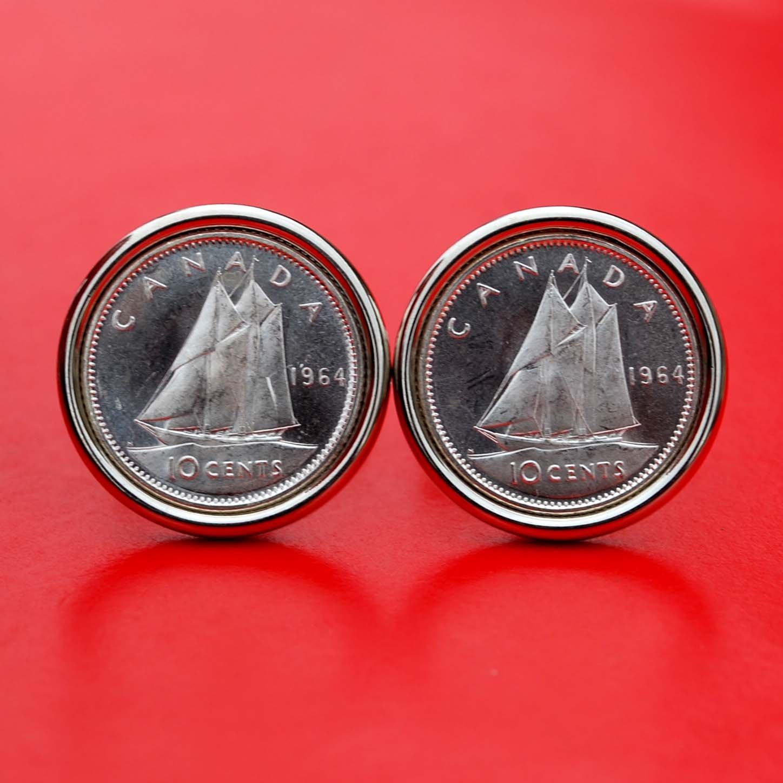 Canada 1964 10 Cents BU Uncirculated 80% Silver Coin Cufflinks - Bluenose Sailing
