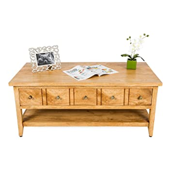 Homescapes Groove Oak Shade Solid Mango Wood Coffee Table With Shelf And Adjustable Drawers 120 X 60 X 50 Cm With 100 Solid Wood And Brass Knobs