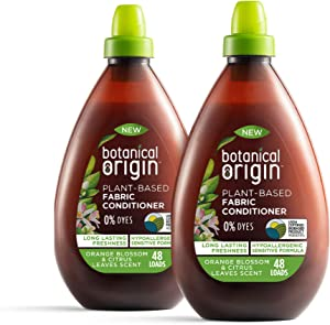 Botanical Origin Plant-Based Fabric Softener, Free from Parabens and Dyes, Orange Blossom & Citrus Leaves, 2 Pack of 32.46 oz (96 Loads)