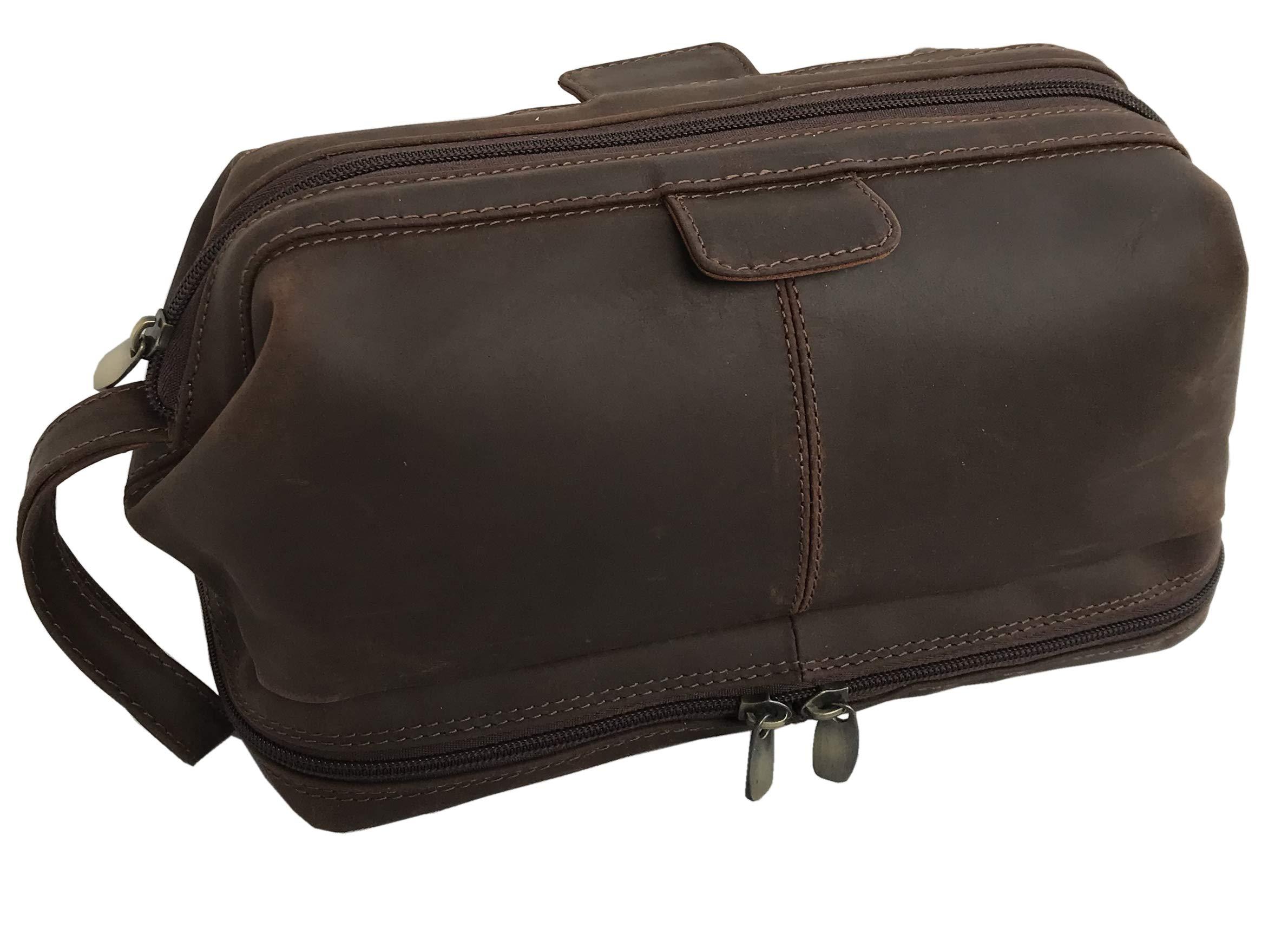 Leather Unisex Toiletry Bag Travel Dopp Kit Grooming and Shaving Kit ~ for Men Women
