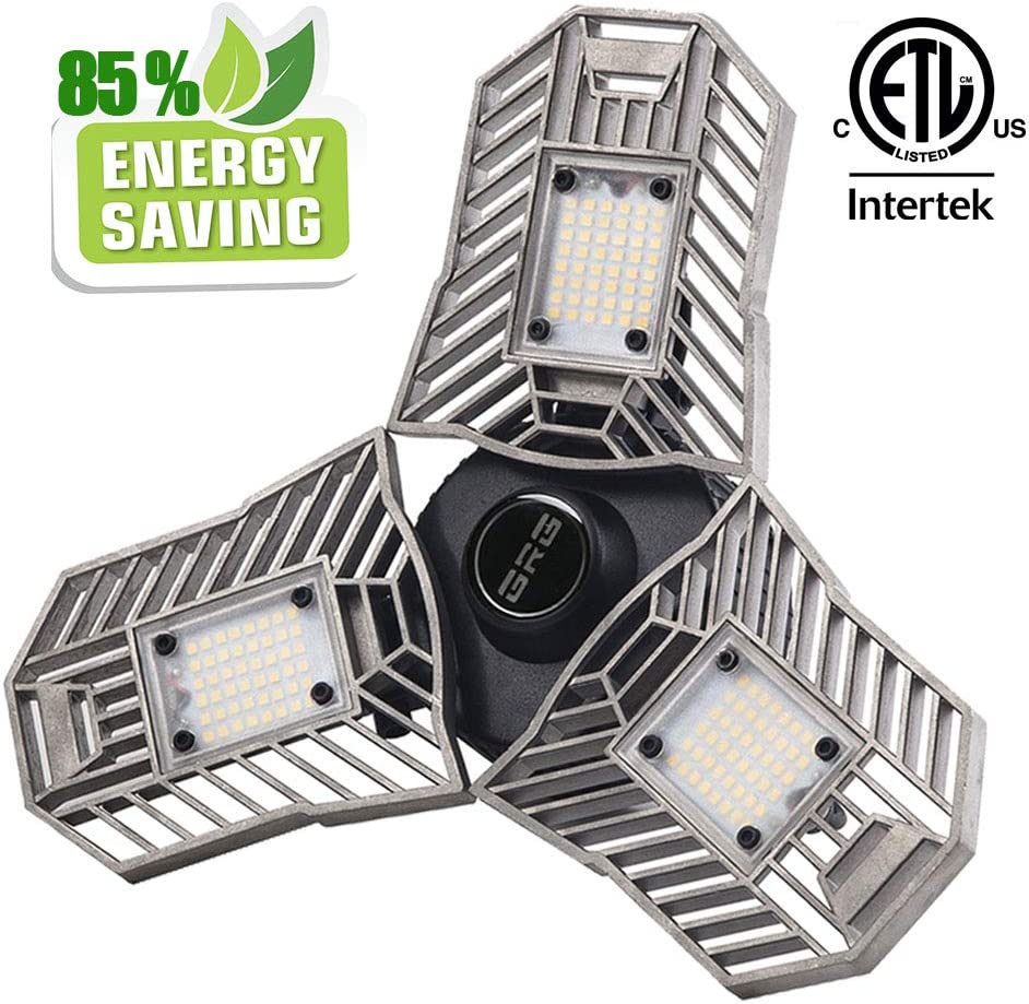E27 40//60W LED Garage Lights 6000lm Deformable Ceiling Fixture for Workshop Shop