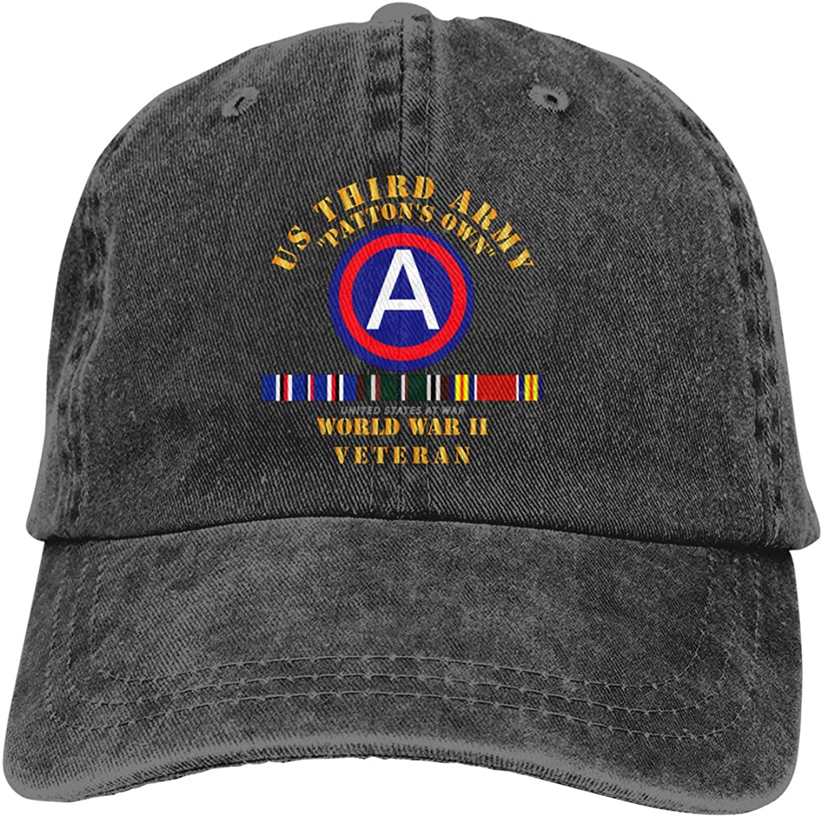 Army 3rd Us Army WWII W SVC Unisex Vintage Adjustable Baseball Cap Denim Dad Hat