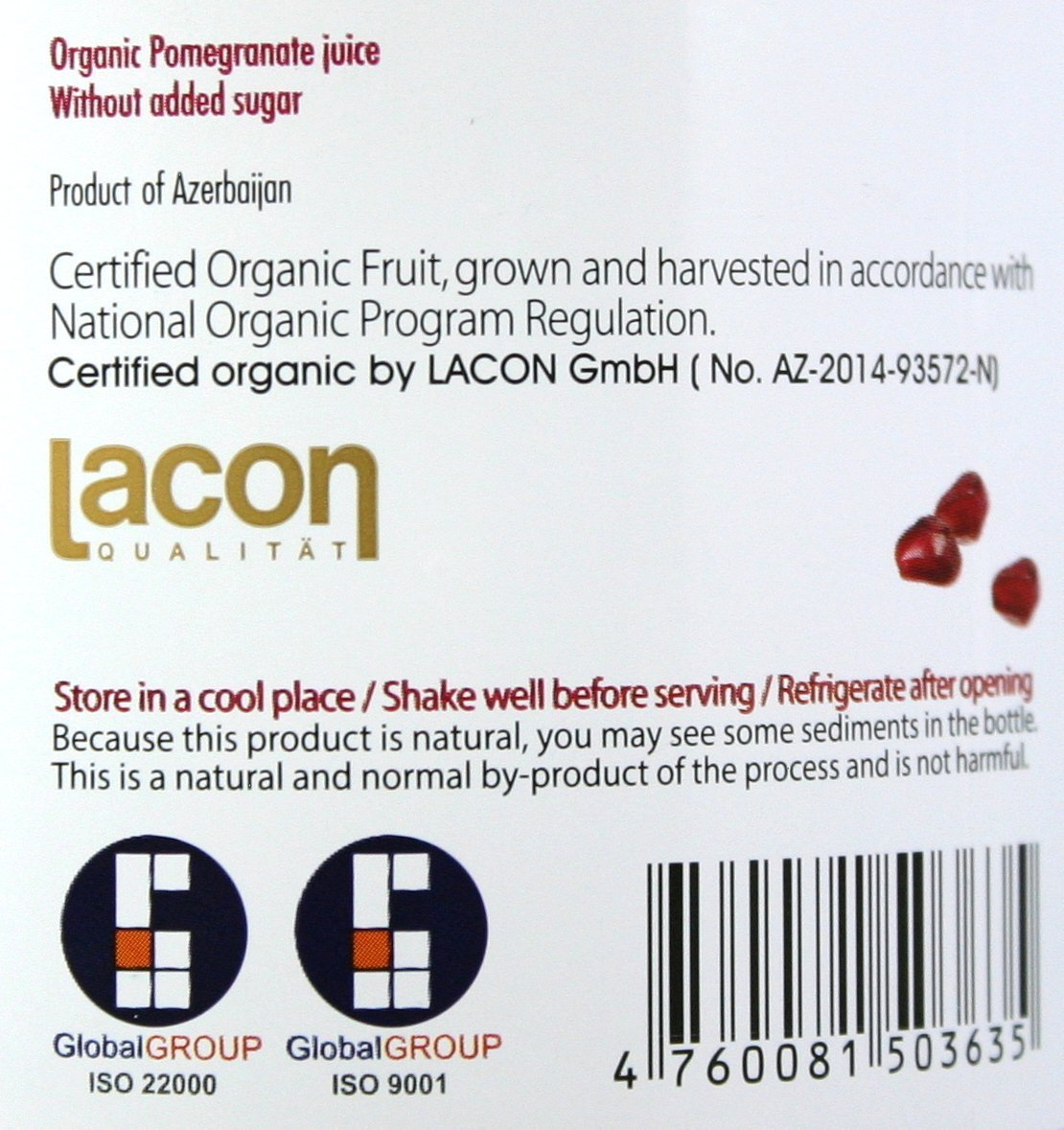 100% Pomegranate Juice - 6 Pack,33.8Fl Oz - USDA Organic Certified - Glass Bottle - No Sugar Added - No Preservatives - Squeezed From Fresh Pomegranates by Blue Ribbon (Image #7)