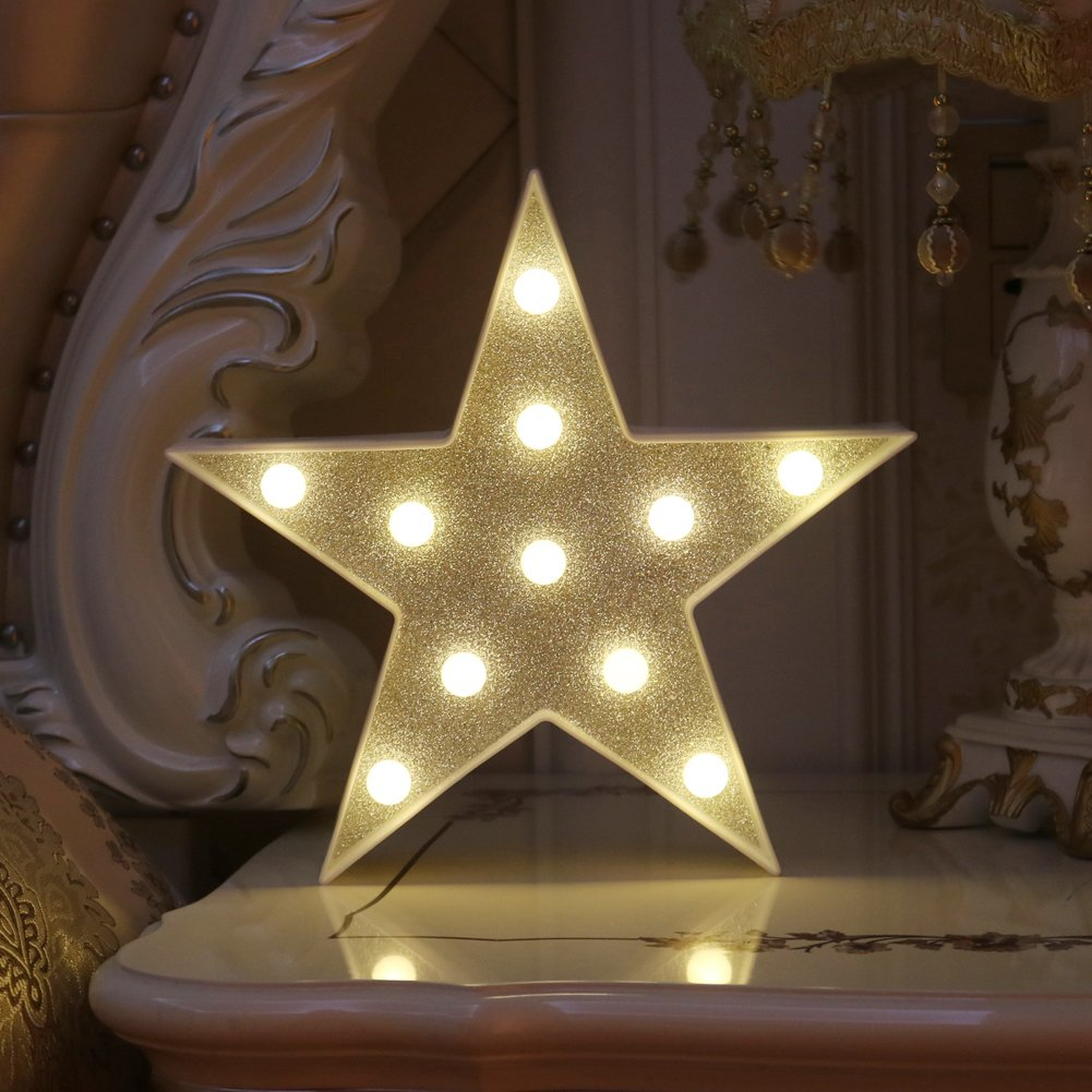 DELICORE Marquee Light Star Shaped LED plastic Sign-Lighted Marquee STAR Sign Wall Décor Battery operated (Giltter Shining Star)