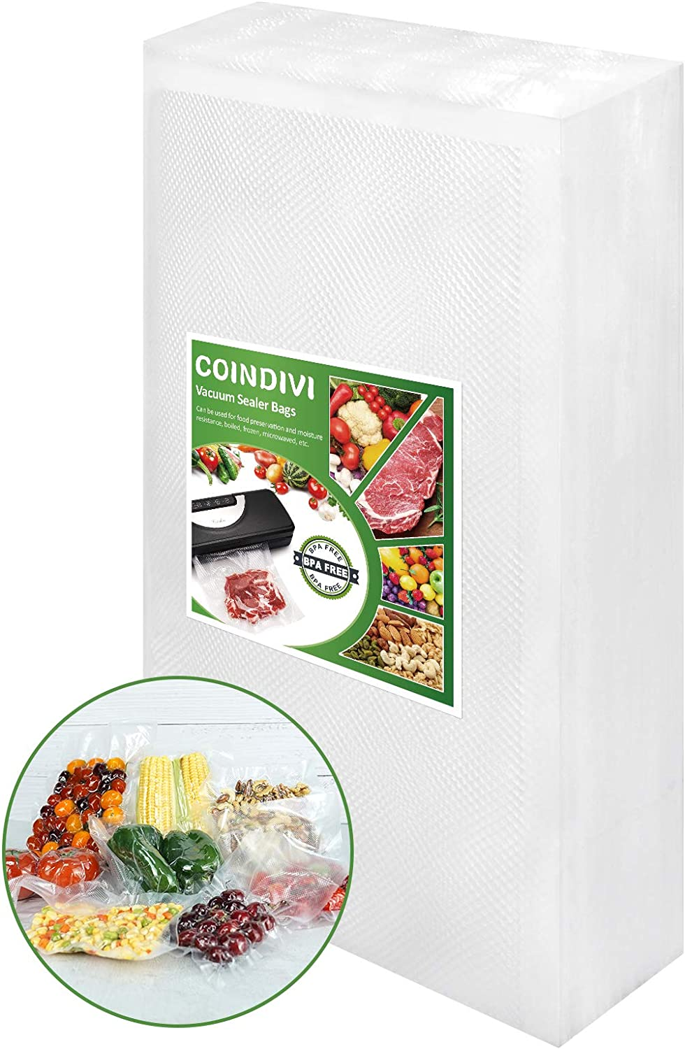 Vacuum Sealer Bags for Food Saver, 100Pcs 7.8''x 11.8'' Reusable Seal A Meal Bags With BPA Free, Coindivi Vacuum Bags Great For Sous Vide,freezer,Storage, Keep Meat, Fruit Fresh, Pre-Cuzt Design