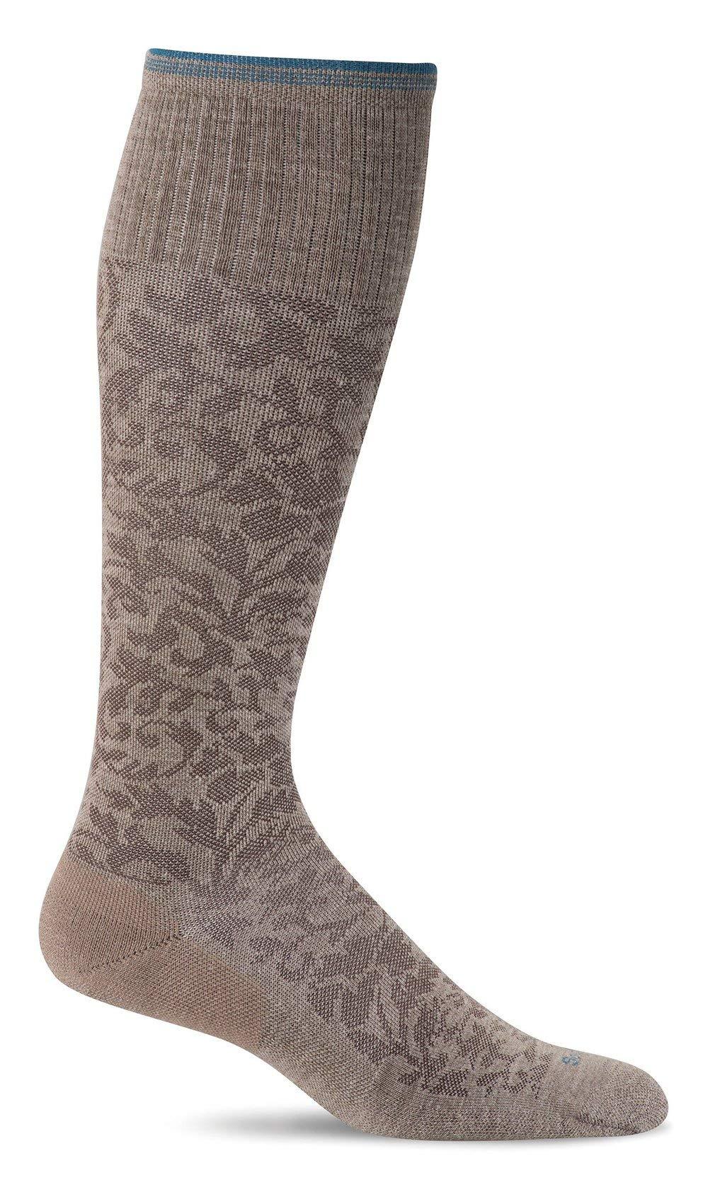 Sockwell Women's Damask Moderate Graduated Compression Socks, Khaki, Small/Medium