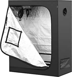 "iPower 48""x24""x60"" Mylar Hydroponic Water-Resistant Grow Tent with Observation Window and Removable Floor Tray, Tool Bag for Indoor Plant Seedling, Propagation, Blossom, etc 2'x4'"