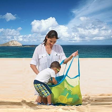 MOONVVIN Mochila de Malla para Playa, Toallas de Baño y Piscina, Bolas de Juguetes