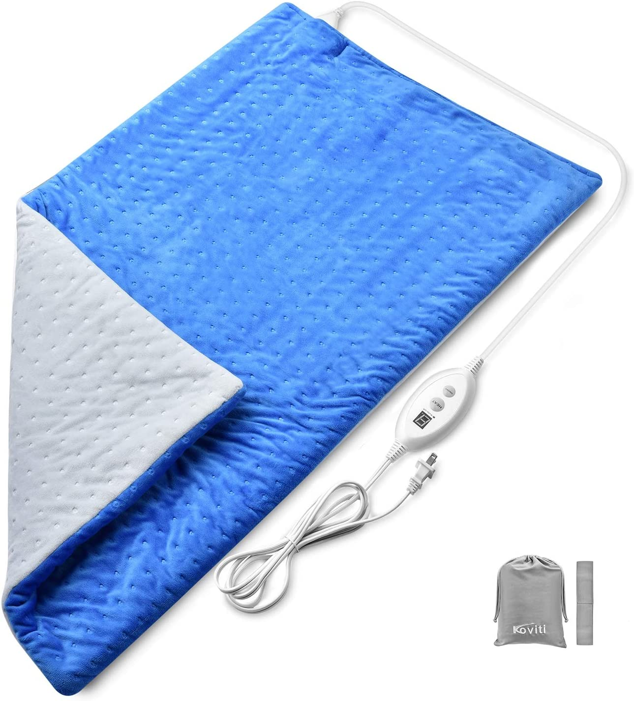 Heating Pads for Back Pain - Koviti Large Heating Pad[17''x33'']with 6 Heat Setting&2H Auto Shut Off for Fast Neck/Shoulder/Foot Pain Relief, Soft Moist Heating Pad with Elastic Band&Storage Bag(Blue)