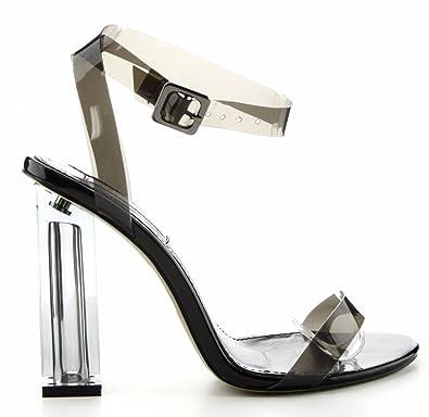 a7f736e00ec CAPE ROBBIN Maria-2 Lucite Clear Strappy Block Chunky High Heel Open Peep  Toe Sandal