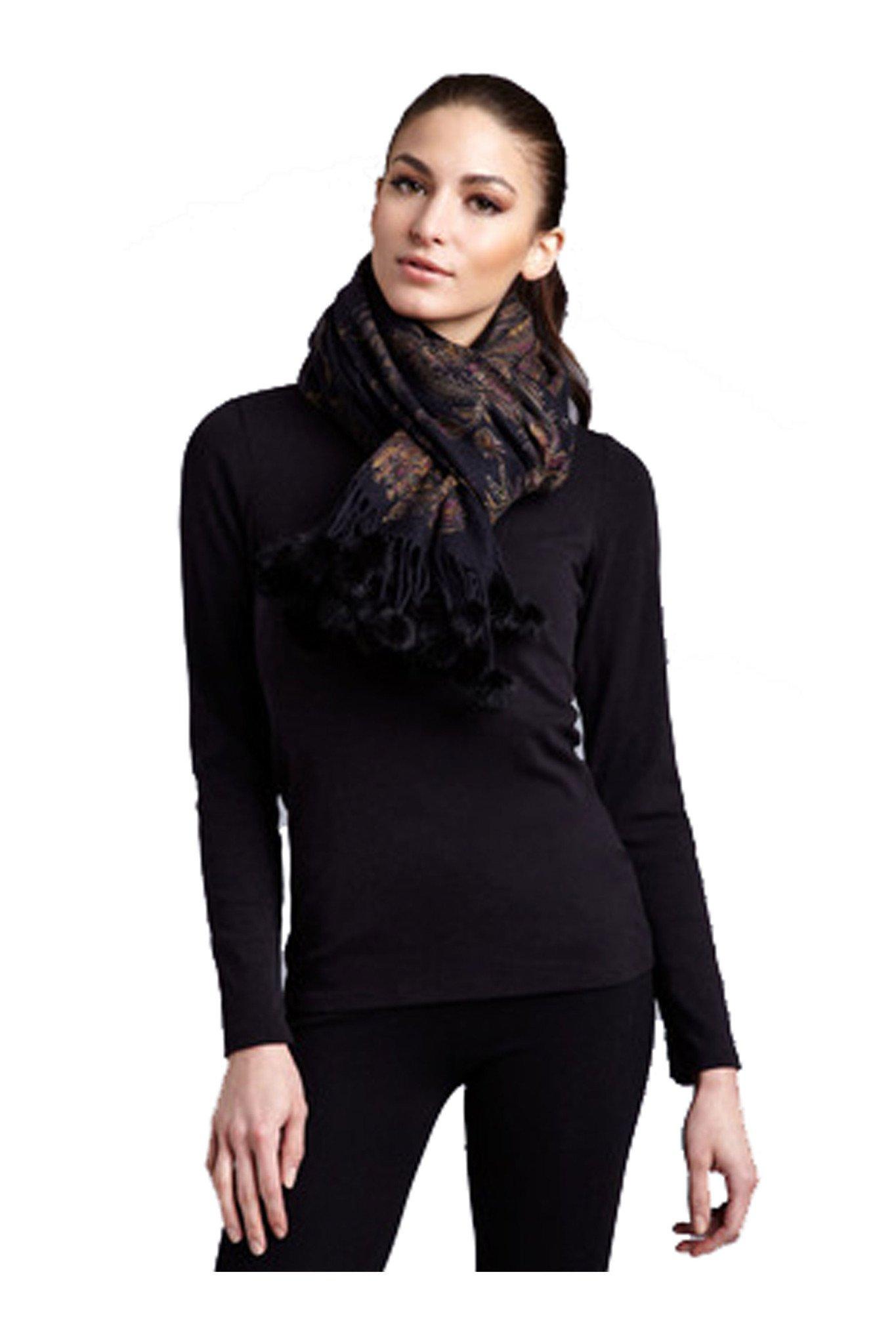 Cashmere Pashmina Group-Cashmere Shawl Scarf Wrap Stole (Solid/ Reversible Print w/ Genuine Fur) - Mink Black