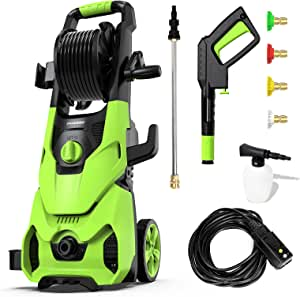 [New Model] Paxcess 3500PSI Electric Pressure Washer, 1.85 GPM Portable Power Washer with Hose Reel, 4 Quick Connect Nozzles, Soap Tank, IPX5 Car Washer Machine for Home/Car/Driveway/Patio Clean