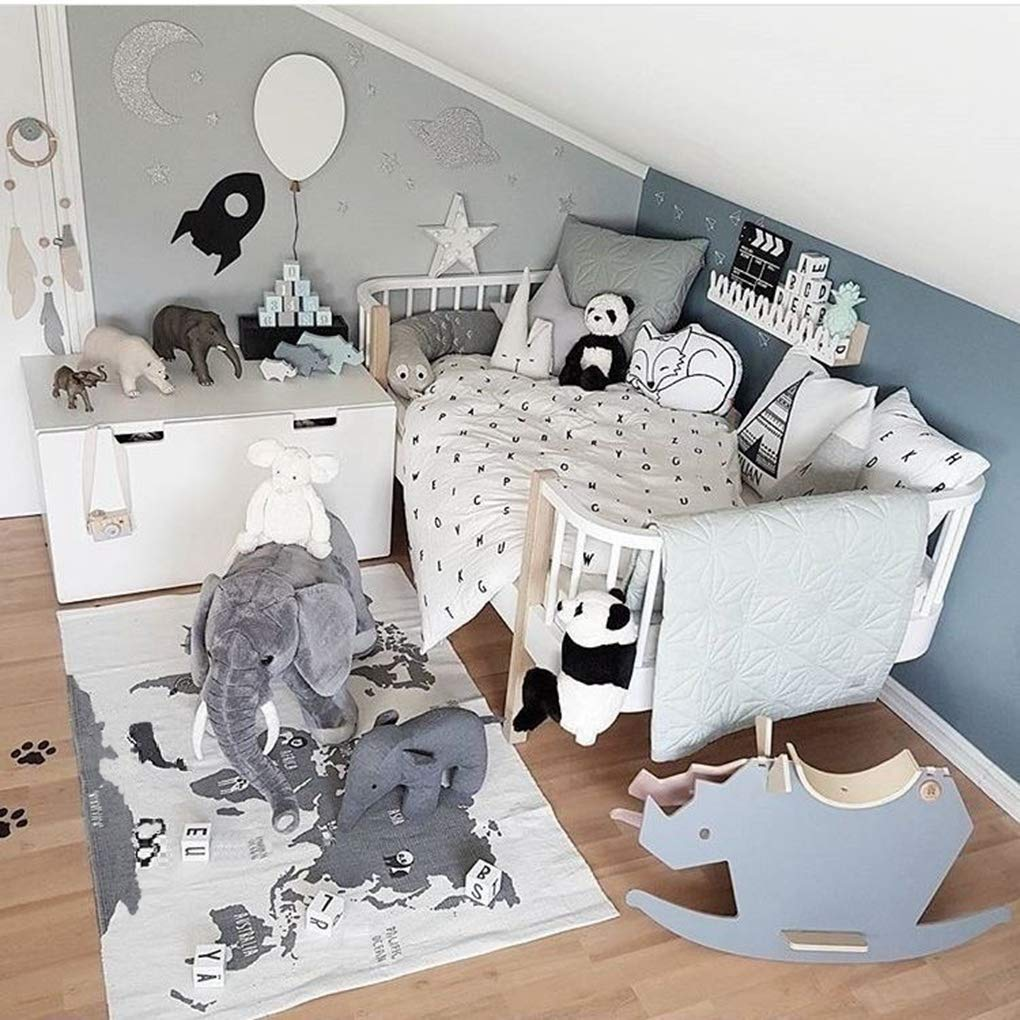 Nordic Style Fashion Canvas Forest Track Runway Play Game Mats Baby Kids Crawling Blankets Floor Carpet Children Room Decoration