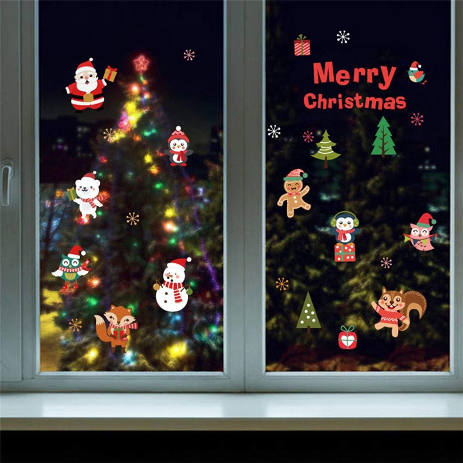 Amazon.com: Chitop DIY White Snow Christmas Wall Stickers - Window Glass Festival Decals Santa Murals New Year Christmas Decorations for Home Decor (4): ...
