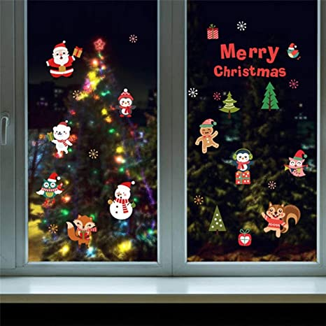 Chitop DIY White Snow Christmas Wall Stickers - Window Glass Festival Decals Santa Murals New Year