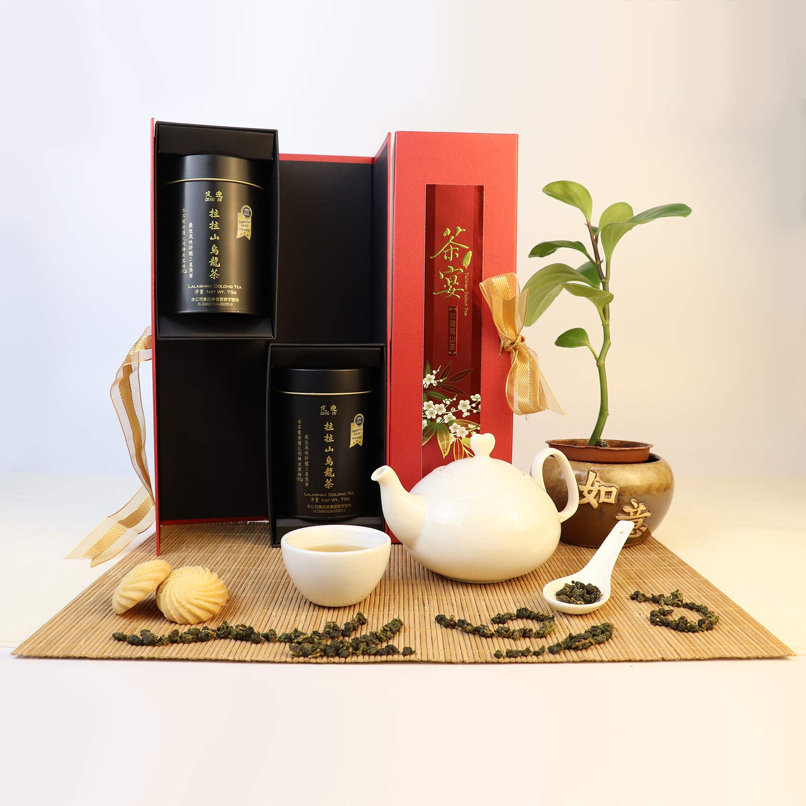 DING IN Lalashan Oolong Tea Feast Straight Gift Box 75g/2cans by Ding In ltd. (Image #2)