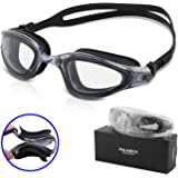 Pulabecs Swimming Goggles With Anti Fog UV Clear Lenses Racing Swim Glasses For Man And Women