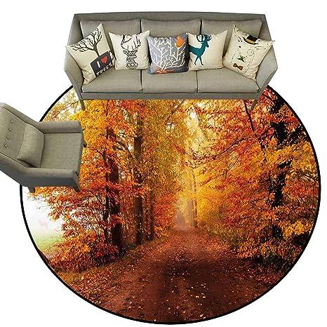 Amazon.com: Alfombra redonda con diseño de hojas en la pared ...