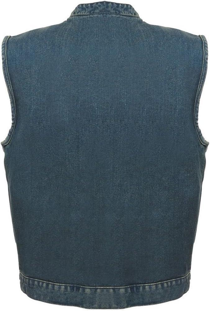 Milwaukee Leather Mens Concealed Snap Black Blue Denim Club Vest W//Hidden Zipper