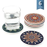 Sweese Drink Coasters with Cork Base - Absorbent Stone Coaster Set - 6 Packs, Round, Vintage