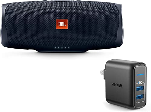 JBL Charge 4 Portable Waterproof Wireless Bluetooth Speaker Bundle with Anker 2-Port Wall Charger – Black